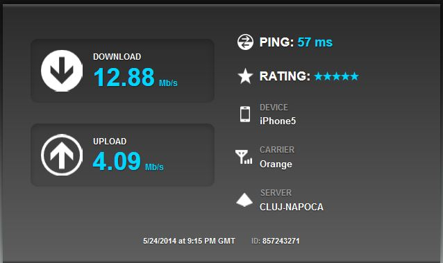 test viteza internet iPhone 5 3G orange cu provider server UPC Cluj