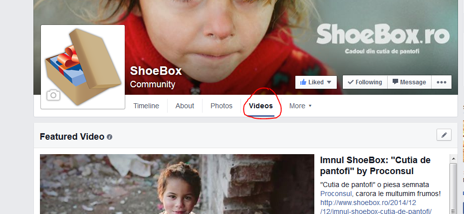 tabul videos in facebook shoebox