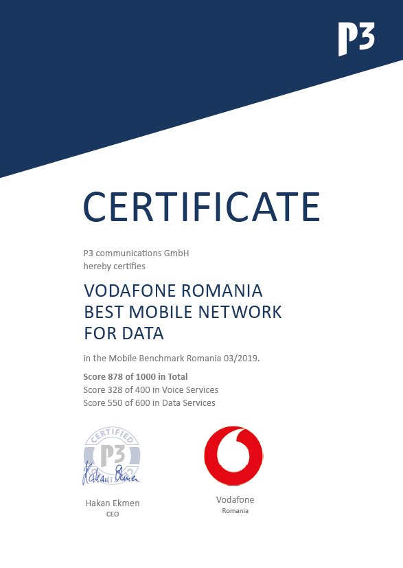 Certificat P3 communications GmbH: Vodafone Romania Best Mobile Network For Data